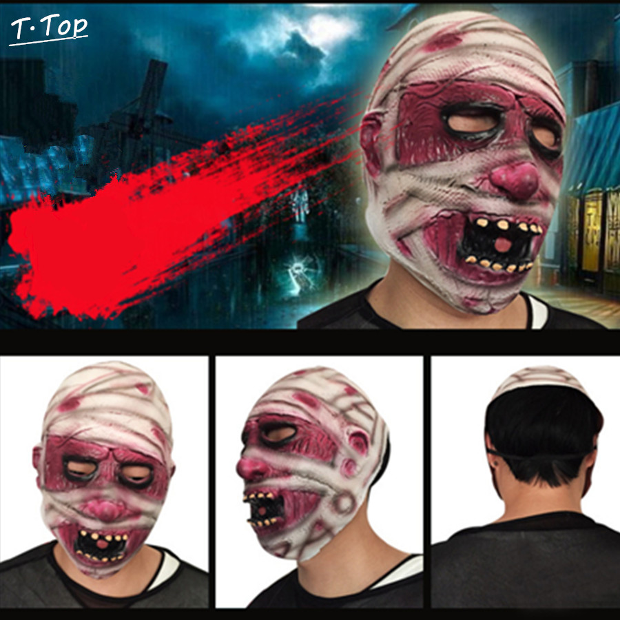 Halloween Mask Funny Scared Mummy Zombie Full Practical Jokes Mask Rubber Latex Fancy Stage Party Toy For Adult(China (Mainland))