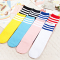 Kids Knee High Socks Girls Boys Football Stripes Cotton Socks Old School White Socks Colored Children Baby Long Tube Leg Warmer