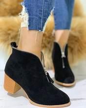 Satış Büyük Boy 35-43 Serin Akın Leopar Fermuar Kadın Ayakkabı Kadın Moda Tıknaz Topuklu Eğlence Sonbahar yarım çizmeler Kadın patik(China)