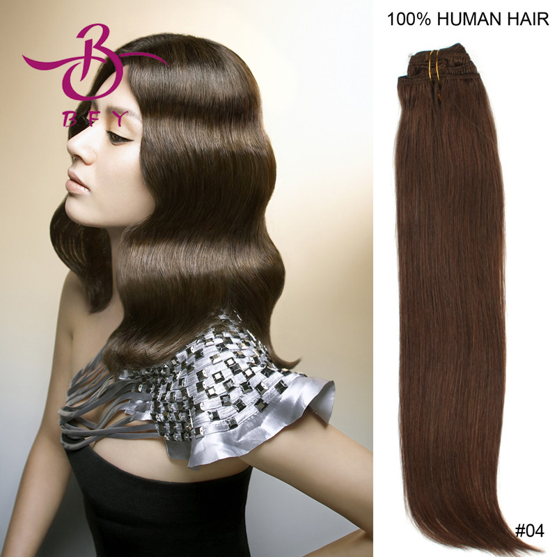 1pc/lot 22inch/55cm 8pcs/set  full head set straight clip in /clips on hair extension human hair 100g/pack clip hair<br><br>Aliexpress