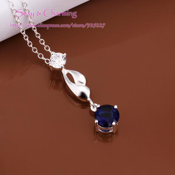 N497 free chain Silver Plated zircon cz diamond blue/white/red necklace Chain&pendant Jewelry Welcome Mixed Wholesale(China (Mainland))