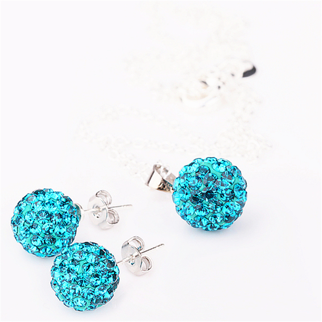Jewelry set women's fashion necklace earrings silver peacock rhinestone wholesale shamballa sets for women