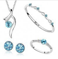 2014 Korea Fashion Artificial Bridal Jewelry Charm Crystal Gold Plated Wedding Sets - ABC Jewelry's store