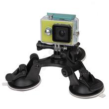 Gopro Accessories Car Windshield Triple Vacuum Suction Cup Fat Gecko Mount for Xiaomi Yi GoPro Hero 4 3 SJ4000 SJ5000 SJ7000