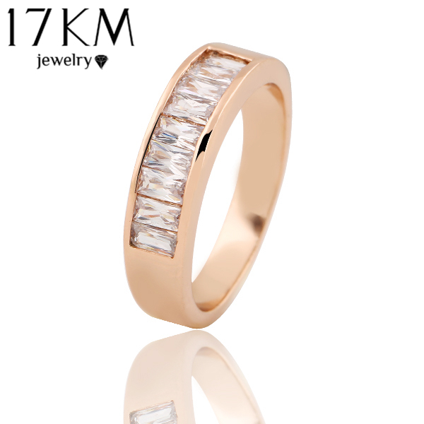 17KM Brand 2015 New Elegant Luxury Austria Crystal Couple Rings Bezel Plating 18K Gold Ring Vintage Charm Jewelry For Women(China (Mainland))