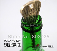 Free Shipping Magic Trick Toy-- Folding Key Thru Bottle or Ring Penetration,Magic Trick Props,Magic Joke Toy Easy to Play(China (Mainland))