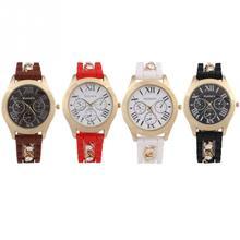 2015 venta caliente nuevas mujeres señora gel de sílice correa de diamantes de imitación reloj análogo de cuarzo del reloj del deporte Casual bonito regalo de 4 colores