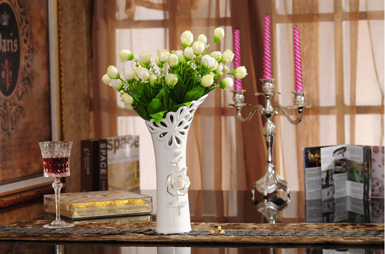 Jade porcelain vase ceramic home decoration hollow out decorations with liquid gold roses,free shipping,fashion gift(China (Mainland))