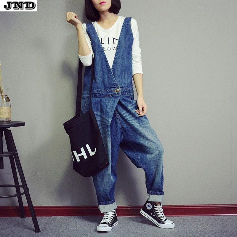 Free Shipping 2016 New Fashion Ladies Overalls Harem Pants High Quality Denim Jeans Loose Jumpsuits And Rompers Plus Size M LОдежда и ак�е��уары<br><br><br>Aliexpress