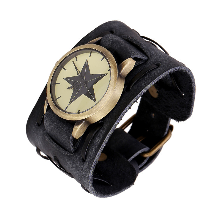 New men's retro leather watches wide leather bracelets personalized genuine watch factory direct atmospheric table(China (Mainland))
