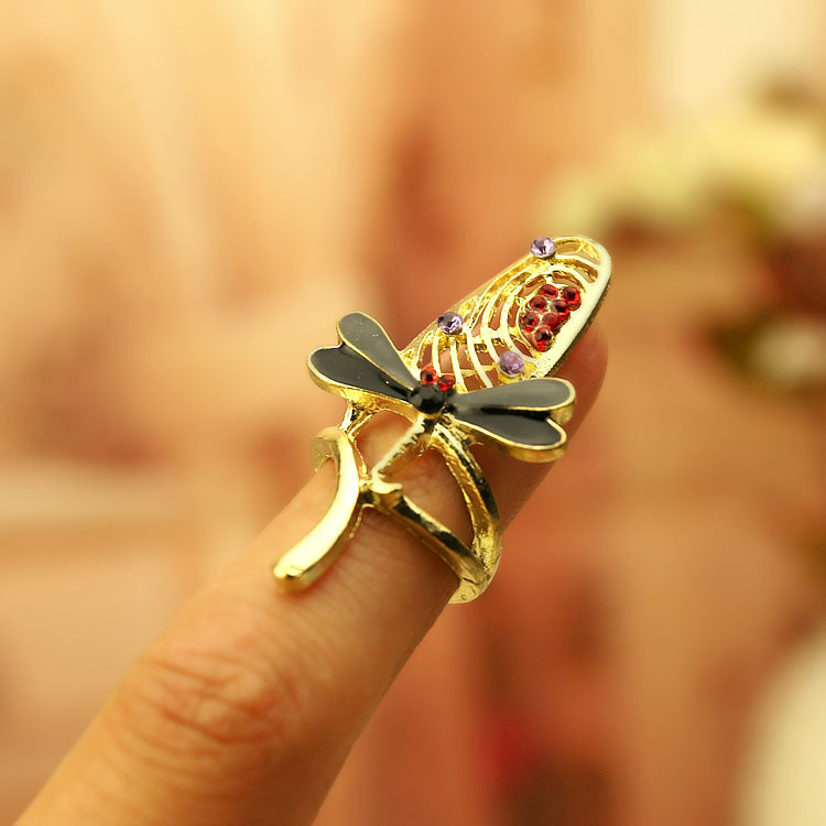 Dragonfly Nail Ring Punk Cool Charms Net Sets Fashion Finger Accessories - Lincy store