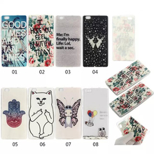 Transparent Multi-Pattern Soft Case For Huawei P8 Lite Silicone Cover TPU Painted Back Cover Mobil Phone Cases Accessories Coque
