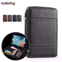 Zipper Wallet Tablet Case Cover for Ipad MINI 4 7.9 Business Flip Stand Cover for MINI 4 Luxury Pu Leather Portfolio Bag Case(China (Mainland))