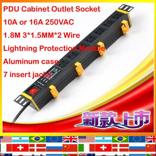 Australia European Lightning Protection 7 jack aluminum 1.8m 1.5mm wire 10A 16A 250V PDU socket Cabinet outlet strip(China (Mainland))