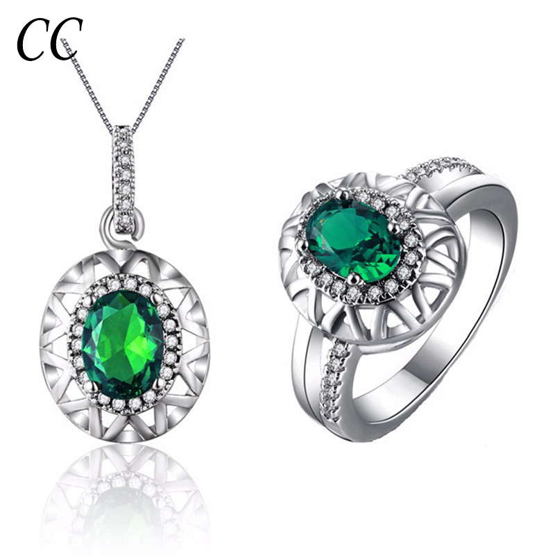 Green oval shape cubic zirconia diamond necklace sets and ring for women luxury crystal jewelry sets white gold plated CCJS010(China (Mainland))