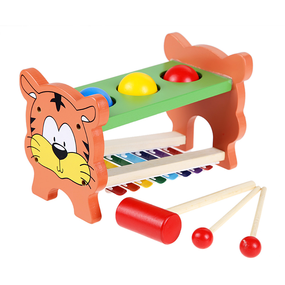 Children Knocking Hammer Early Learning Educational Toy Wooden Hammering Ball Toy Fun Baby Kids Playing Hamster Hammer Box(China (Mainland))