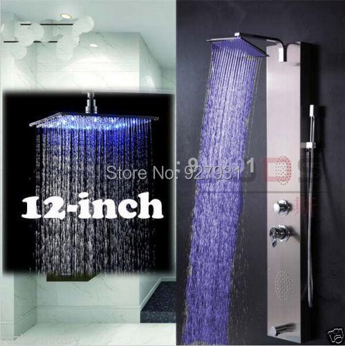 "Luxury Nickel Brushed 12"" Rainfall Shower Column Shower Panel Massage Jets + Brass Hand Shower(China (Mainland))"