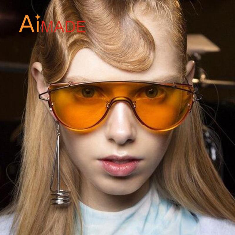 designer mirrored sunglasses 0x3m  Aimade Unique Flat Big One Piece Lens Rimless Sunglasses Women Fashion  Brand Designer Mirror Metal Ladies