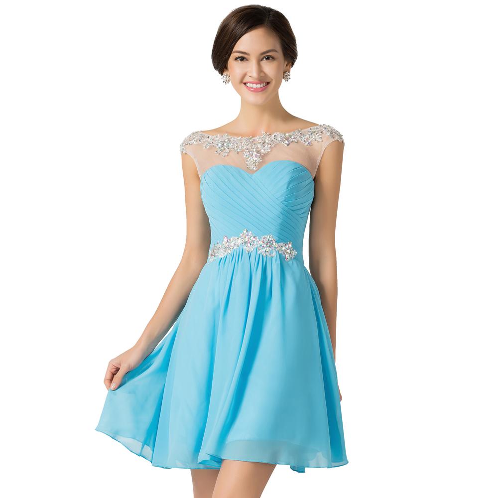 Blue green short prom dress - Prom dress style