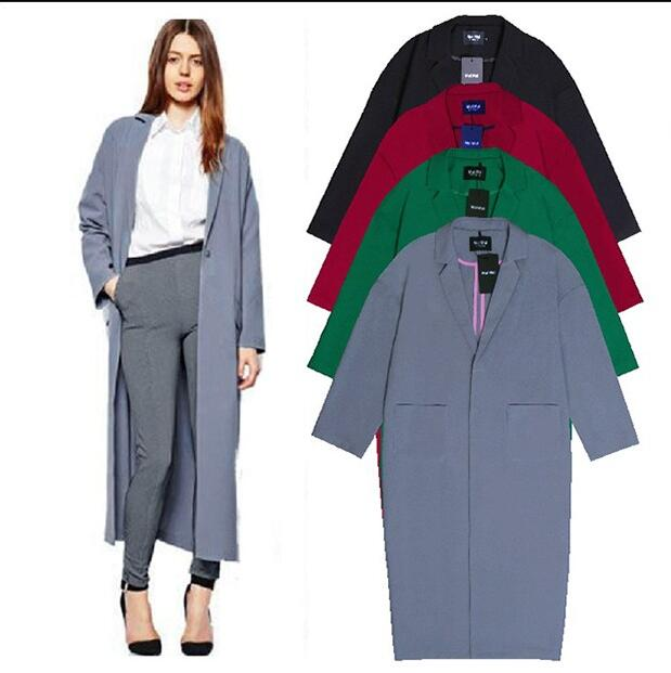 Cheap X-Long Maxi Long Trench Coat Women OL Ladies Long Sleeve Single Breasted Autumn Winter Trench Windbreaker Outerwear(China (Mainland))