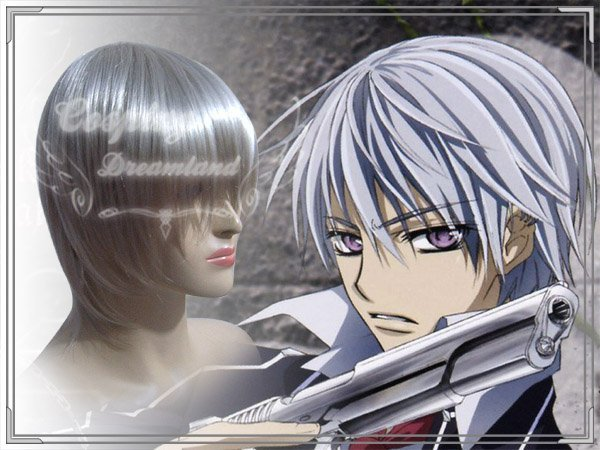Wholesale Free Shipping Hot Selling Cheapest Halloween Vampire Knight Cosplay Wig Kiryuu Zero Wig