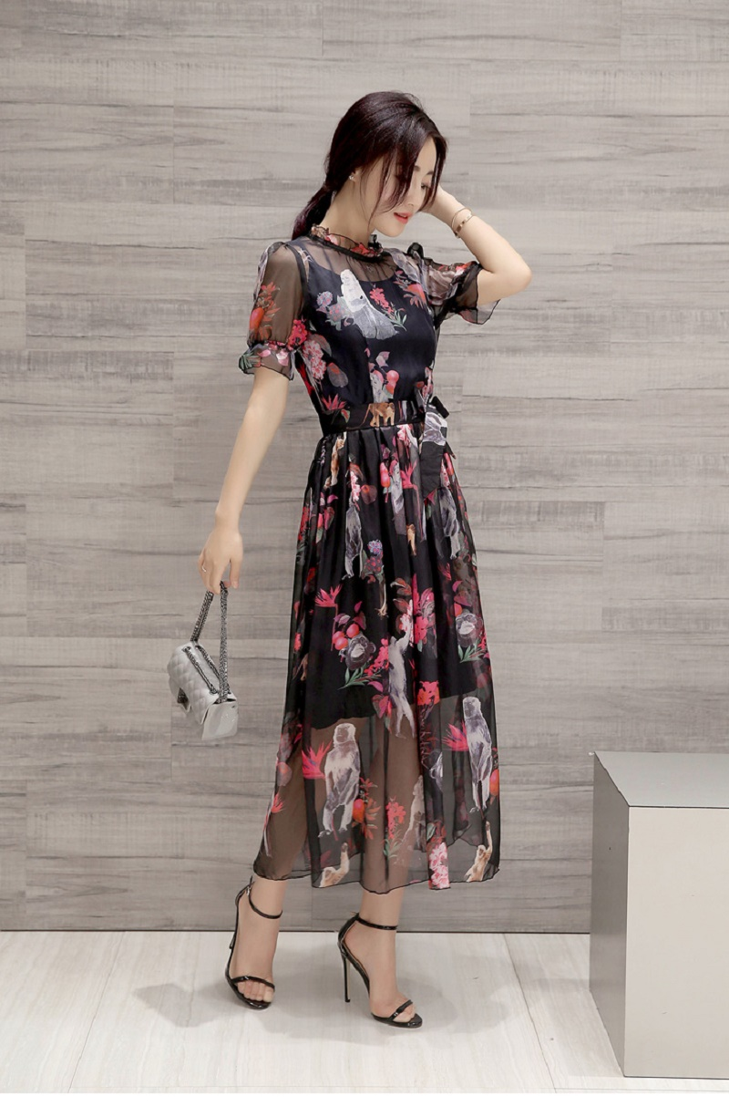 Han edition spot with elastic waist A word Dress lotus leaf sleeve two-piece snow spins 2016 summer new products on the market(China (Mainland))