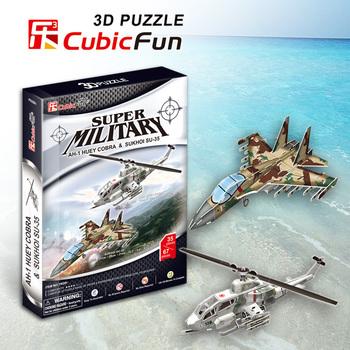 AH-1 Huey Cobra & Sukhoi SU-35 cubic fun P628H 35+67pcs 3D Puzzle military paper model DIY kids  Educational toys free shipping