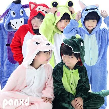 PANXD animal halloween cosplay costumes kids flannel pajamas anime cartoon fantasia boy girl onesie children casual sleepwears - atuwill Official Store store