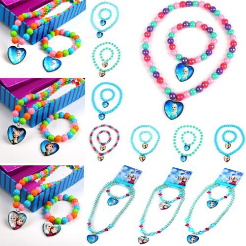 1 Frozen Princess Elsa Anna Heart Pendant Necklace Bracelet Earrings Children Jewelry Set - Fashion'store store