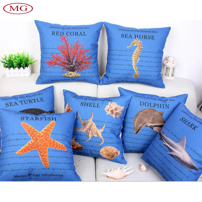 blue fabric with sea creatures printing children gift back cushion cover case for bed sofa