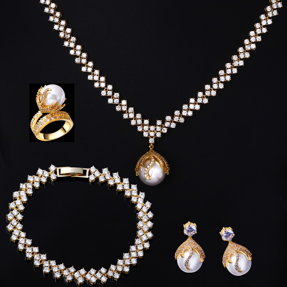 4pcs Pearl Jewelry sets Necklace/earrings/bracelet/ring sets for wedding party bridal jewelry 18k gold filled AAA cubic zirconia