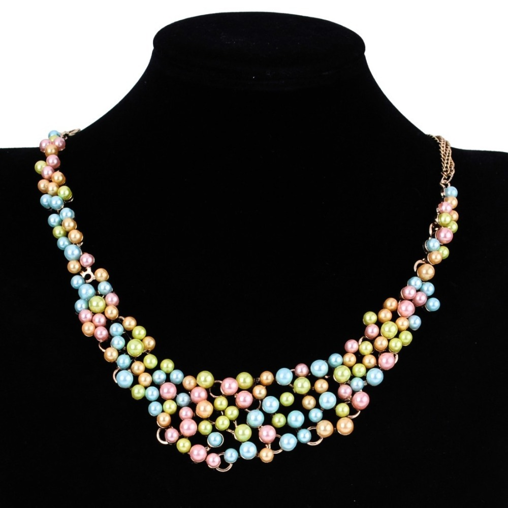 2015 Sunshine Pearl Jewelry Golden Chain Layered Pearls Beads Bib Collar Statement Necklace Women Wear two ways - MOONEY PY STORE store
