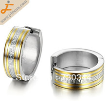 Men's 316L Stainless Steel hoop Earring, with great wall design, 2 color plated,  7x21mm, Non-allergenic earring(China (Mainland))