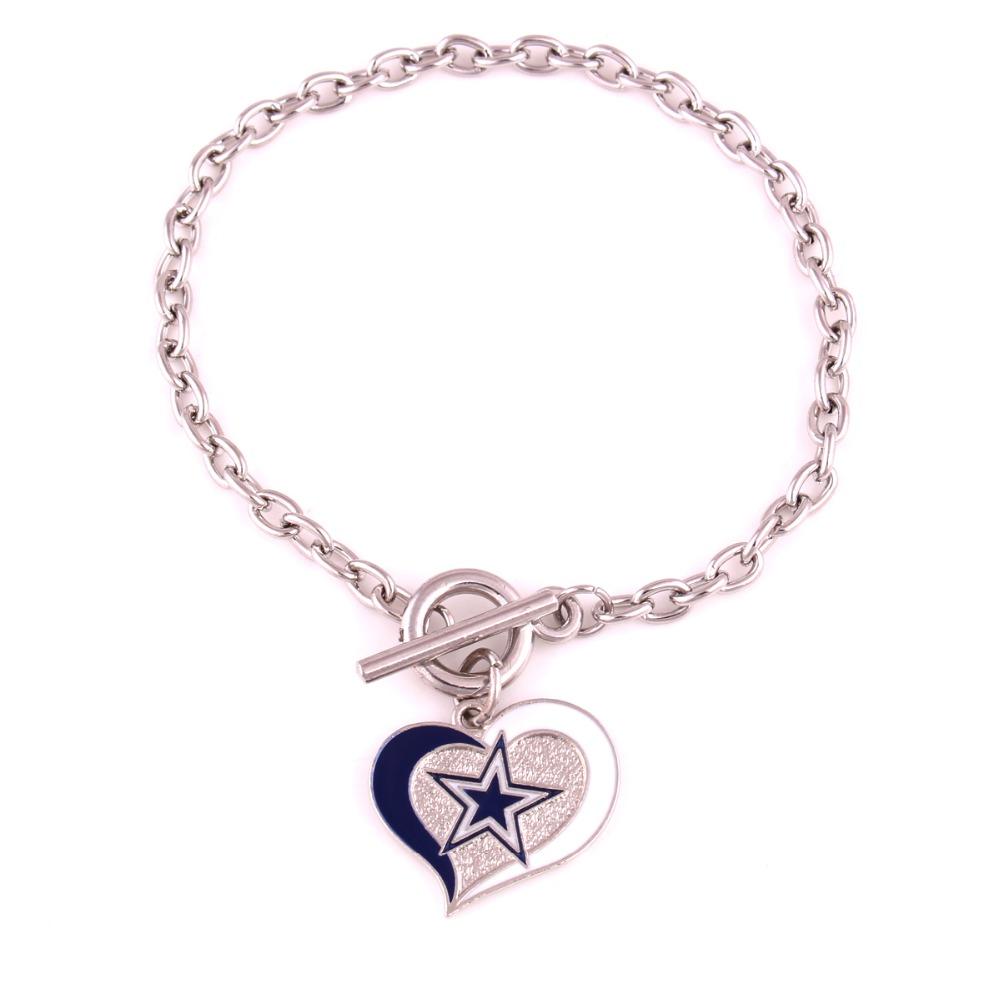 Dallas Cowboys Football team Logo Swirl Heart charm Wedding Toggle charm OT Bracelet(China (Mainland))