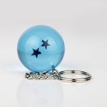 الفتيان أنيمي المجوهرات المفاتيح التنين الكرة الأزرق pvc 1-7 نجوم البلاستيك الكرة قلادة غوكو تعليق مفتاح خواتم المصوغات(China)
