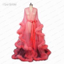 Borgonha pluma robe boudoir tule ilusão nupcial robe longo presente para a noiva vestido de festa do baile(China)