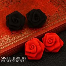 Vintage Sexy Gothic Style Red & Black Solid Rose Flower Earrings Stud For Women Unique Design 2016 New Fashion Es629(China (Mainland))