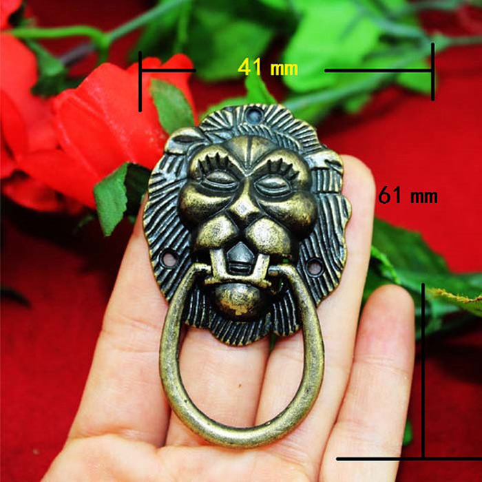 41*65MM Antique Lion Head Drawer Pulls Jewelry Wooden Box Wine Cabinet Knobs and Handles Dresser Closet Pull Handle<br><br>Aliexpress
