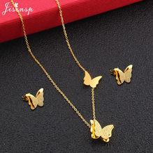 Jisensp נירוסטה תכשיטי סטים יפה פרפר קסמי שרשרת עגילי תכשיטים לנשים בנות מתנת יום הולדת(China)