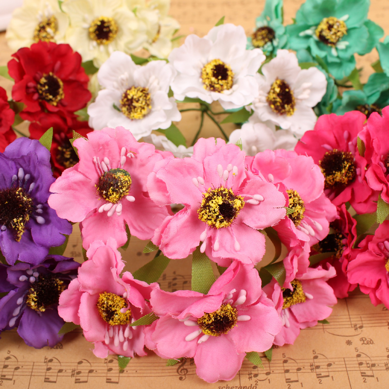 Sale!!! 4-4.5cm head Multi color Mulberry Paper Flower Bouquet/wire stem/ Scrapbooking artificial flowers Free shipping(China (Mainland))