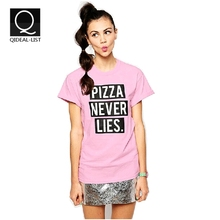 Qideal-L 2015 New Pizza Never Lies Letters Printed College Pink Short Sleeve Shirts Summer Style Women Sport T-Shirt Plus Size(China (Mainland))