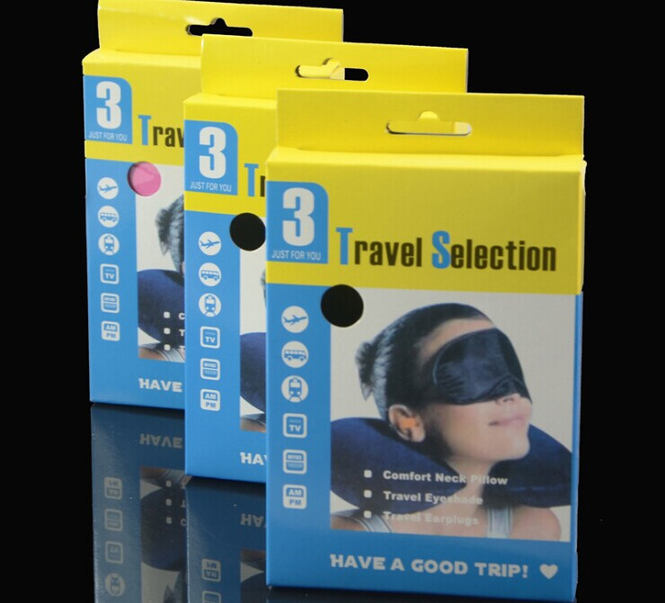Promotion! Retail Packing 3 In 1 Travel Set Inflatable Neck Air Cushion Pillow/Eye mask/2 Ear Plug Comfortable Business Trip(China (Mainland))