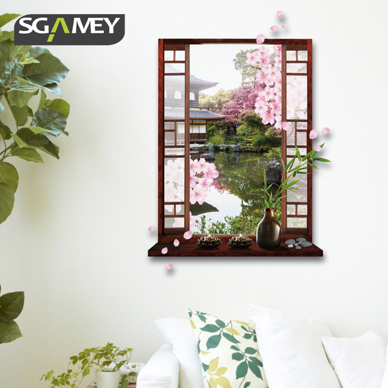 New 5070cm 3D Wall Stickers Chinese Garden Window Wall