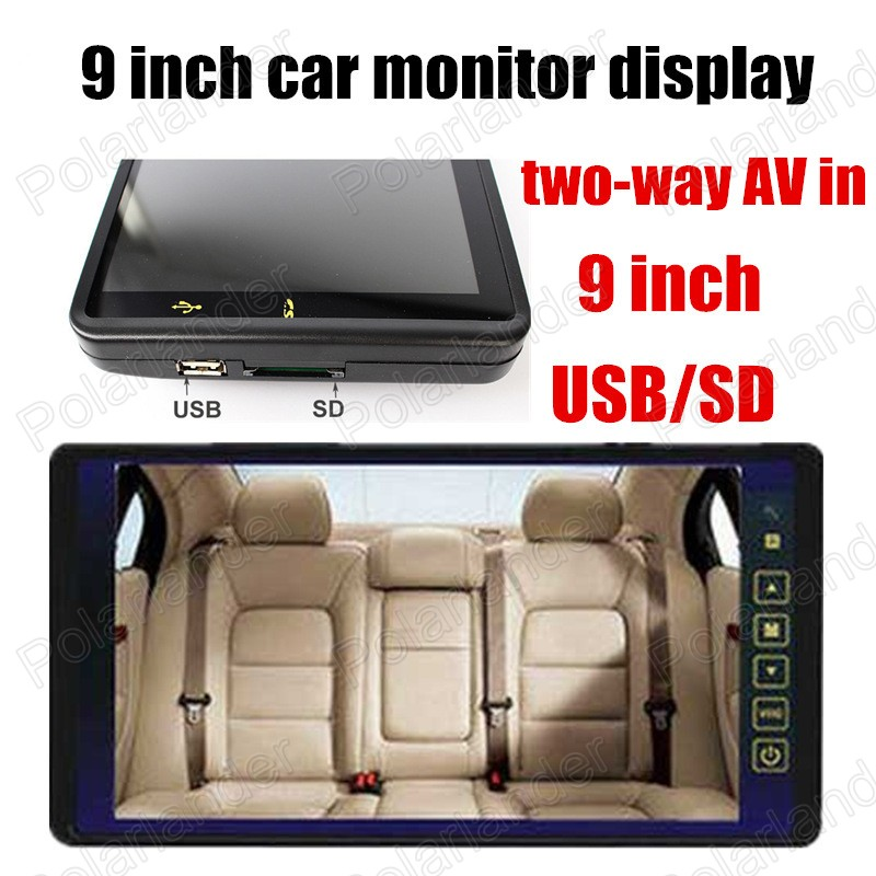 9 inch TFT LCD Car Monitor for VCD DVD Camera 2-channel video input reverse priority car monitor display high quality
