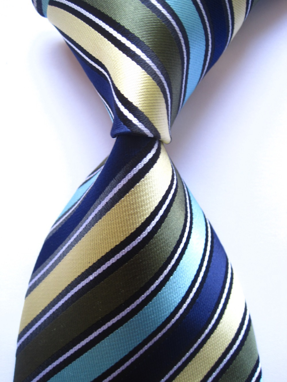 2015 New Classic Striped Blue Green Yellow JACQUARD WOVEN 100% Silk Men's Tie Necktie R313(China (Mainland))