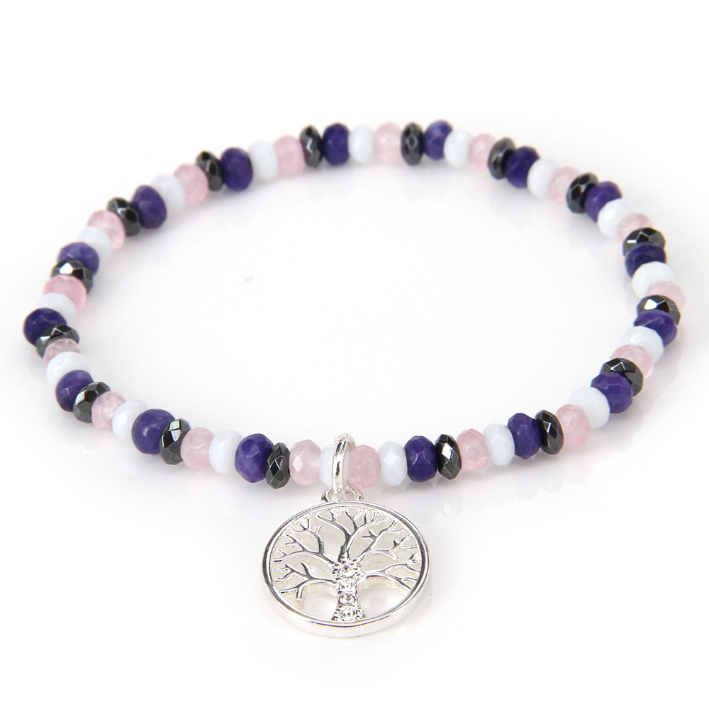Thomas Colorful Small Bead Bracelet with Filigree Tree of Life Charm, Glam Jewelry for Women TS B150(China (Mainland))