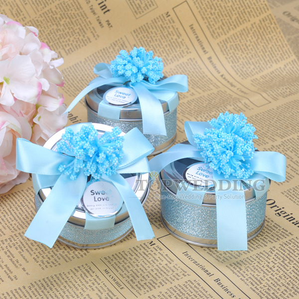 New Wedding Favor Ideas 2015 : 2015 New Arrival 12pcs/lot Alloy Round Candy Box Blue Gift Favor Box ...