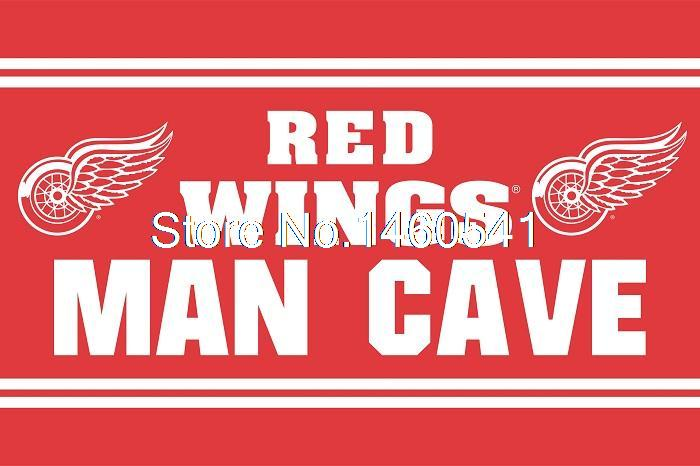 Detroit Red Wings Man Cave Flag 3ft x 5ft Polyester NHL Banner Detroit Red Wings Flying Size No.4 144* 96cm Custom flag(China (Mainland))