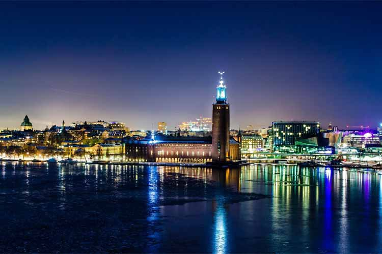 Best Selling 2016 Sweden Stockholm Winter Night Wall Decals Art Poster Custom Home Decor