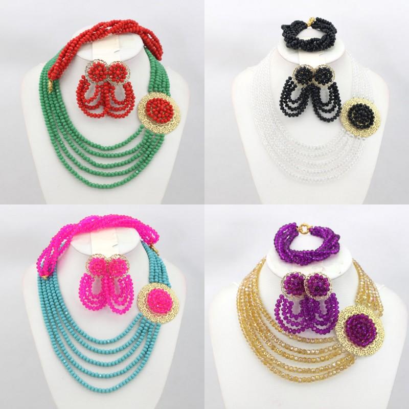 2016 Austrian Crystals Ethiopian Jewelry Set 100% Handmade Colored Fashion Wedding Jewelry Dubai Pinarello Dogma Free Shipping(China (Mainland))